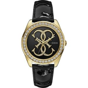 Ladies Guess Watch - Crystal Bezel Black Leather